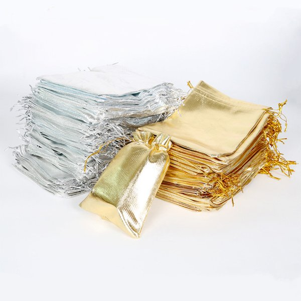 best selling 7x9 9x12 10x15cm 13x18cm Adjustable Jewelry Packing Gold Silver Color Drawstring Bag Drawable Organza Bags Wedding Gift Bags & Pouches