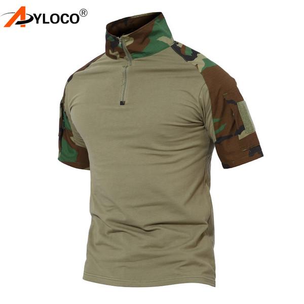Tático de Manga Curta Combate Caminhadas T-Shirt Dos Homens Multicam Camuflagem EUA Camo Camuflagem Camiseta Paintball T-Shirt