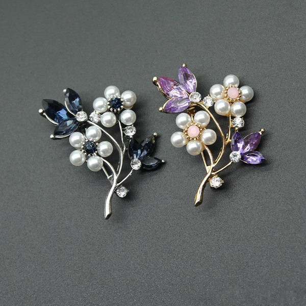 Pearl Plum Flower Brooches blue Purple Crystal Flower plant brooch pins Corsage for Women Men Dress collar clothes jewelry