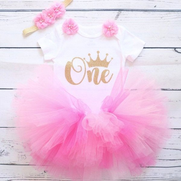 Lentejuelas Letter One Baby Girls Clothes Infant Baby Girl 1 año Ropa de fiesta de cumpleaños Newborn Girls Baptism Dresses 0-12M