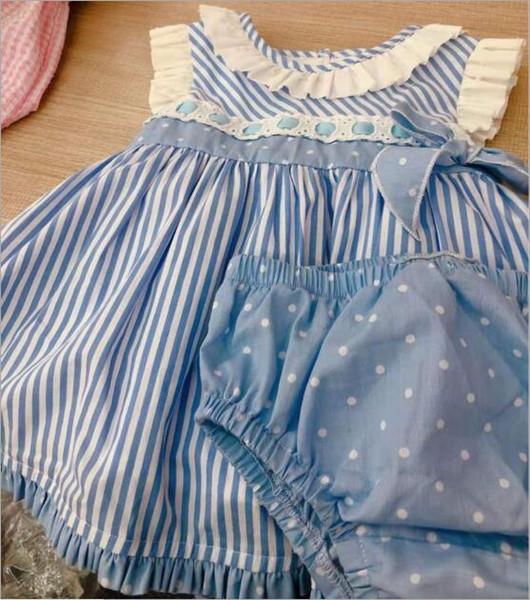 robe bébé fille vêtements de créateurs Espagne Style boutique Blue Lace Bow ou robe rose Design fille robe vêtements d'été fille