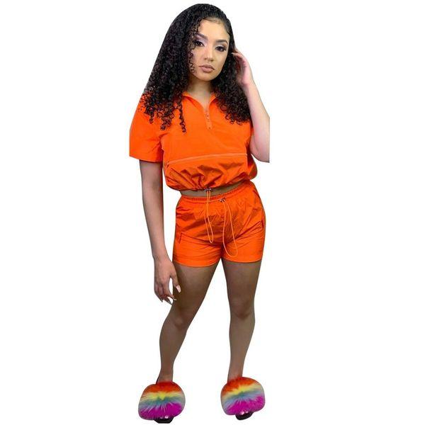Сплошной Цвет Молния Спереди Повседневные Костюмы Для Женщин 2019 Летний Стиль Activewear Свободные Рюшами Топ И Шорты Из Двух Частей Набор