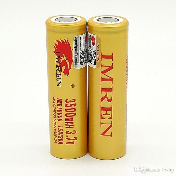 100pcs 100% Haute Qualité IMR 30A 18650 Batterie 3500mAh IMR 3.7V pour LG SONY Samsung Rechargable Piles Au Lithium Cell