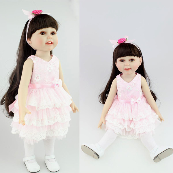 """18"""" American doll girls with dress shoes black hair Reborn Baby doll silicone baby doll baby toys for girls gift"""