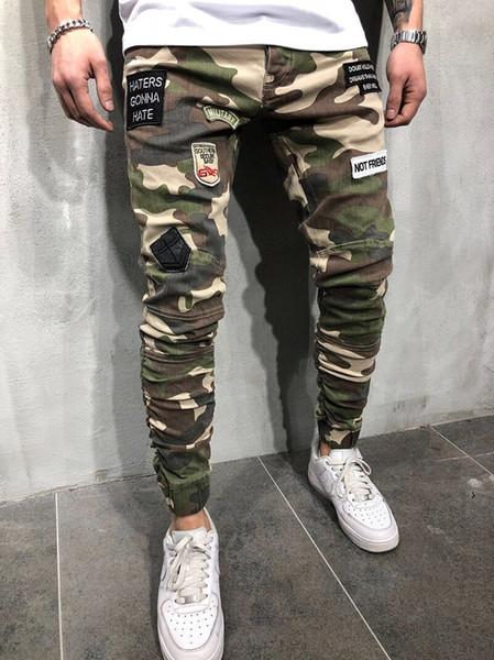 Pantalones de camuflaje para hombre Pantalones de patchwork de moda con parches Pantalones pitillo de diseñador para hombre con bolsillos
