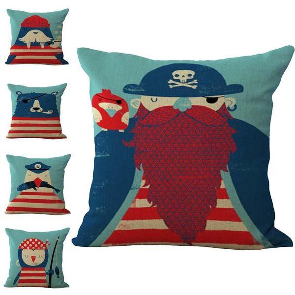 Cartón Animal Piratas Sailor Funda de almohada Funda de cojín Lino Algodón Fundas de almohada Sofá Coches Funda de almohada decorativa 240547
