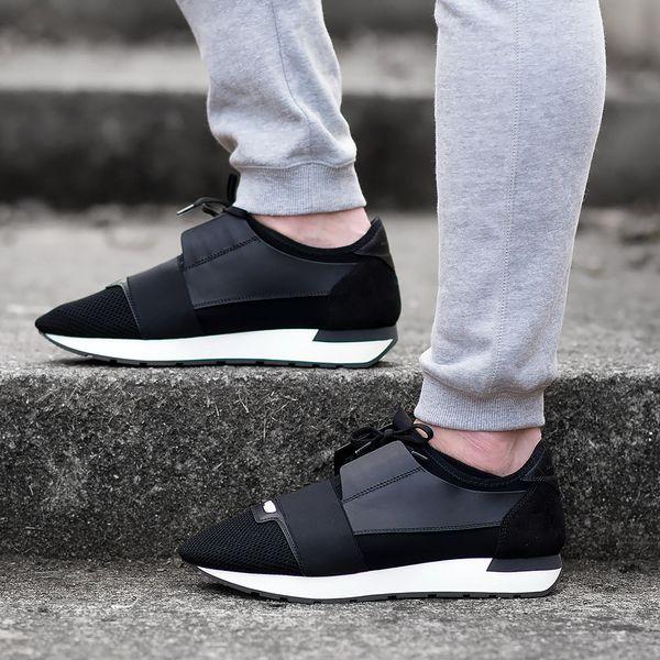 Lüks Tasarımcı Yarış Koşucu Sneakers Marka Erkek Kadın Rahat Ayakkabılar Hakiki Deri Örgü sivri burun Ayakkabı Açık Havada Eğitmenler Kutusu Ile US5-11