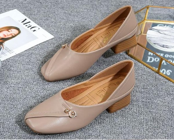 2019 Women's shoes in Spring and Autumn with New style Middle heel Coarse heel round head @43