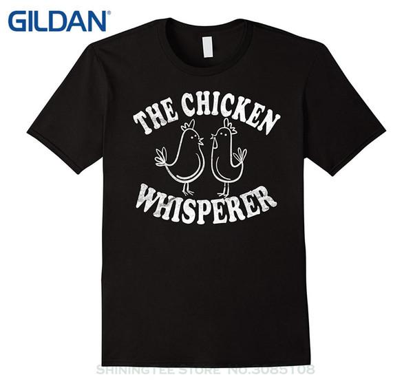 Pure Cotton Rodada Collar Men A Camisa Whisperer de Frango: Cute Funny Love Chickens Tee