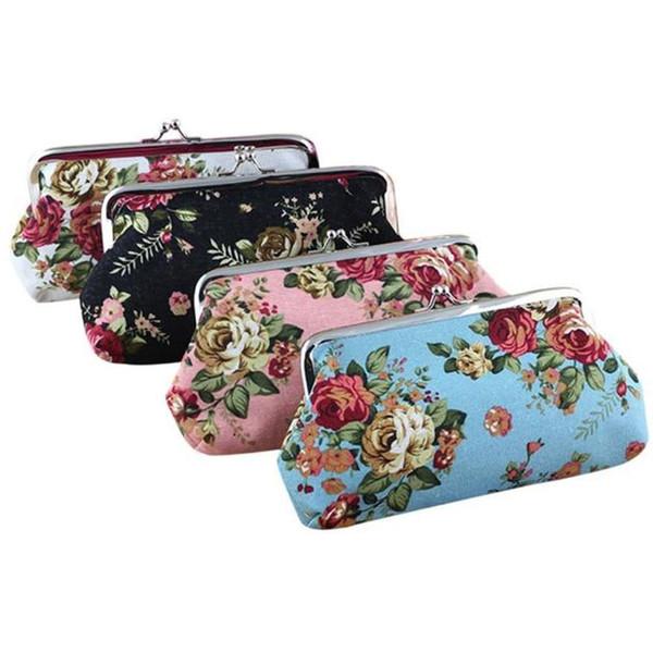 Women Lady Retro Vintage Clutch Bag Flower Small Snacks Purse Hasp Coin Bag Change Pouch Women Letter Canvas Bags Porte