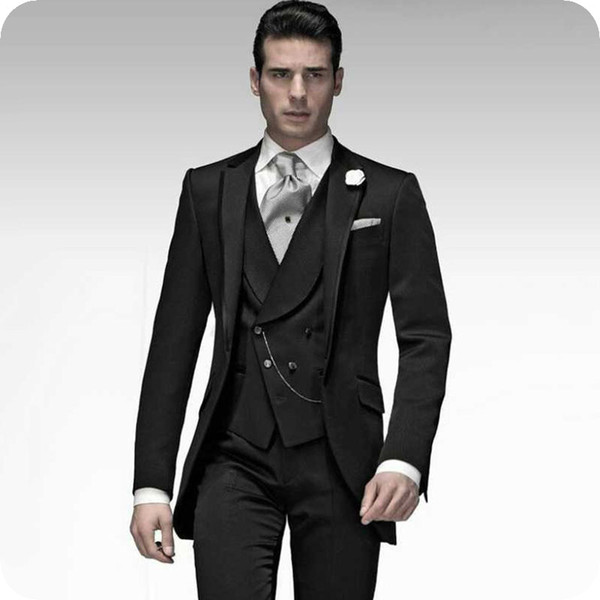 Italy Black Wedding Suits Man Suits Groom Tuxedos Best Man Blazers Slim Fit Terno Masculino 3Piece Latest Coat Pant Designs Costume Homme