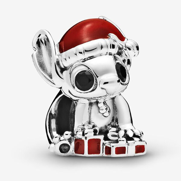 Fits European Pandora Stitch Christmas Charm Bead with Cz Authentic Bangle Jewelry Bracelets Necklaces & Pendants Sterling Silver 925