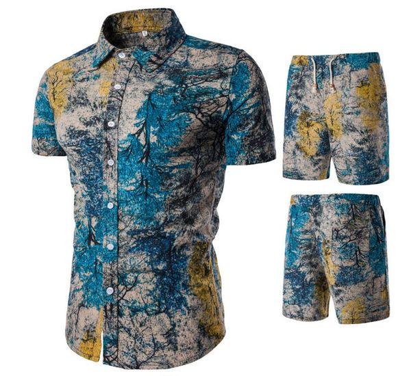 2019 New free fashion Mens Summer Designer Suits Beach Seaside Holiday Shirts Shorts Clothing Sets 2pcs Floral Tracksuits990