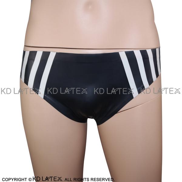 Черный с белым сексуальный латекс Brifes с планками на две стороны фетиш резиновые трусики шорты трусы нижнее белье связывание брюки DK-0076