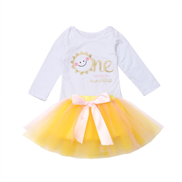 Emmababy Baby Girls Clothes 1st Birthday Cute Tops Bodysuit Tulle Tutu Yellow Dress 2Pcs Autumn Outfit Clothes
