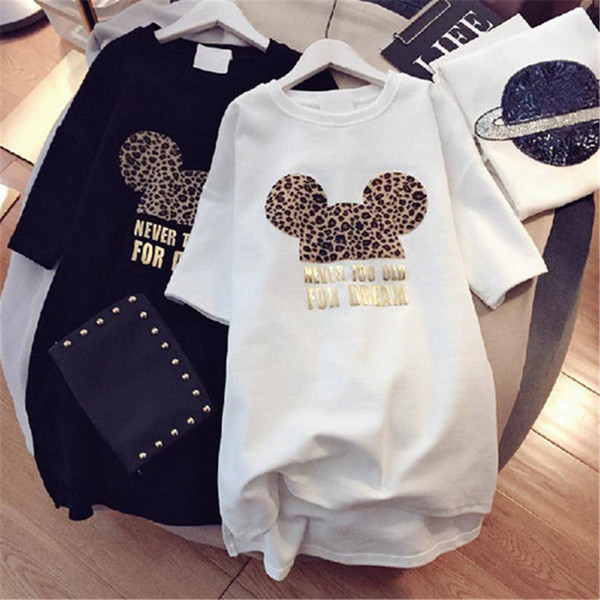 Bayan Tasarımcı T Shirt ile Marka Elbiseler Hayvan Güzel Fare Moda Kadınlar için Yeni Varış Yaz Elbise Kısa Kollu Uzun Tee Elbise M-XXL