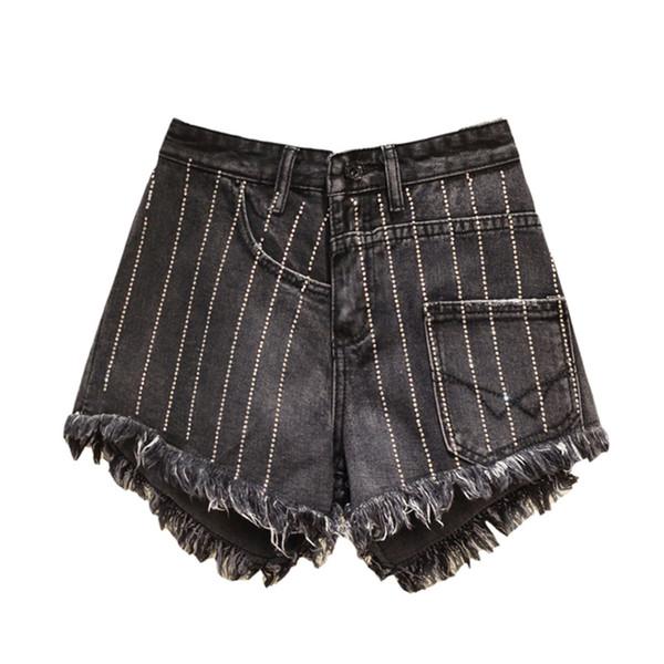Summer Jeans Denim Shorts For Women Tassel Rhinestone High Waist Wide Leg Harem Denim Shorts Femme Boyfriend Jeans Plus Size