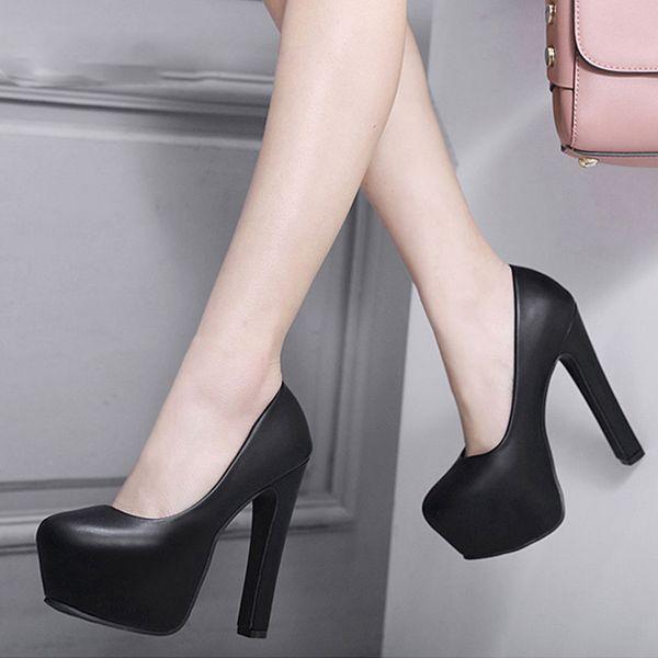 Ladies High Heels Platform Pumps PU Black White Women Shoes Platform High Heels Shoes Thick Heels Work Pumps Dress Shoes
