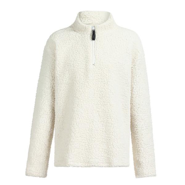 À manches longues solide Sweatershits causales Fluffy Zip Up Outwear pour l'hiver overs confortable et chaleureux des hommes Homme