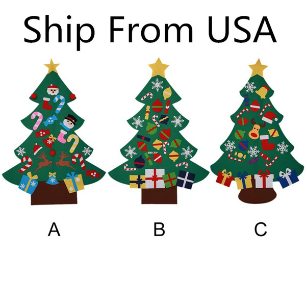 Ship From USA Power Felt Christmas Tree with Lovely Ornaments Door Wall Hanging Decoration New Year Christmas Children Gifts