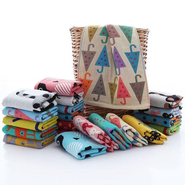 Unisex Baby Handkerchief Cute Cartoon Printed Children Face Towels Soft Muslin Gauze Cotton Infant Feeding Towels 25x50cm 2019 toallas 7416