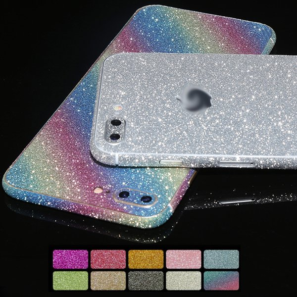 Glitter 360 Full Body Sticker Phone Skin Cover Case For iPhone X 8 7 6S 6 Plus 5 5S SE Case Shining Fashion Colorful Phone Cases