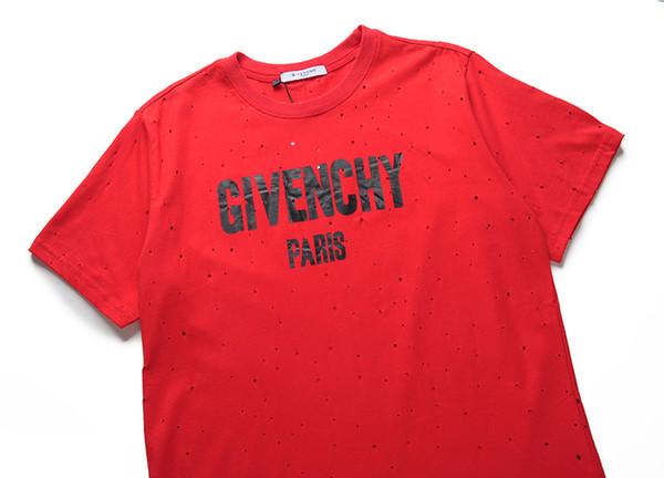 3gbg GVT Summer Street wear Europe Paris Fan Made Fashion Men High Quality Broken Hole Cotton Tshirt Casual Women Tee T-shirt