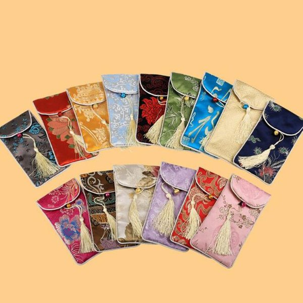 Rectangle Chinese Style Handmade Silk Brocade Lucky Tassel Jewelry Pouches Collected Beads Gifts Bags 17x9cm ZC0909