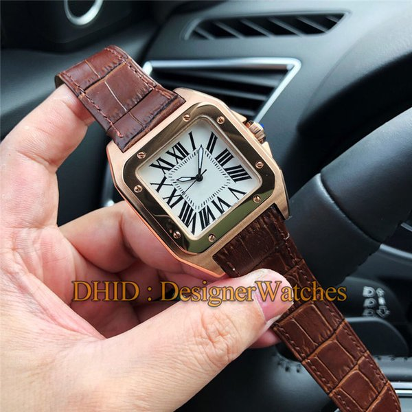 Luxury Fashion Mens Designer Watches Square 39mm Rose Gold 316L Steel Case Automatic Wristwatch Brown Leather Strap montre de luxe