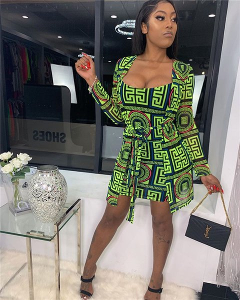 Vêtements pour femmes Robes Imprimer Luxe Veste Designer Sexy Jupe Fashion Casual Slim Deux Piece Robes Casual
