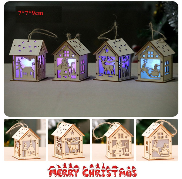 4 Styles Wood Santa Clause House 9cm DIY Luminous Cabin Christmas Tree Hanging Ornaments Lamp Cabin Pendant Xmas Gift Decor For Room L338