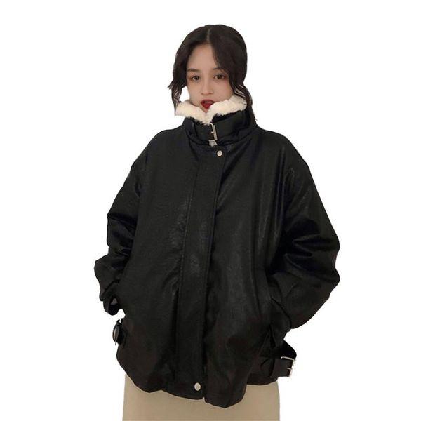 Women 2019 Fashion Autumn Winter Warm Faux Wool Liner Moto Jackets Female Loose Casual Black Biker PU Leather Jackets Coats V632