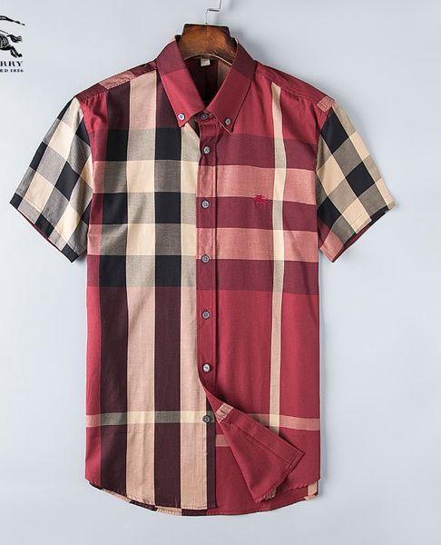 Мужская повседневная рубашка марки бизнес мужская рубашка высокого качества с коротким рукавом Fit Fit Medusa Мужская рубашка из хлопка