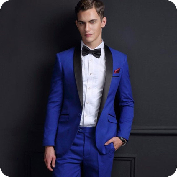 Royal Blue Smoking dello sposo Smoking Abiti da uomo Smoking Jacket Black Scial risvolto 2 Pezzi Groomsmen Abiti Uomo Blazer Costume Homme Serata Party