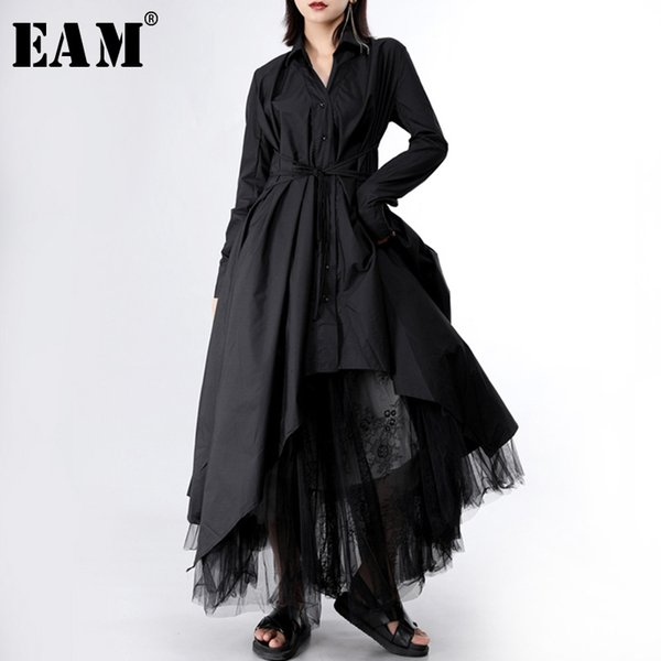 eam] 2020 new spring autumn lapel long sleeve button bandage stitch pleated irregular shirt dress women fashion tide jy778, Black;gray