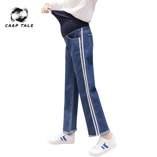 Pantaloni larghi per le donne incinte pantaloni premaman jeans denim strappato Donne incinte regolabili Donne dritte pantaloni lunghi