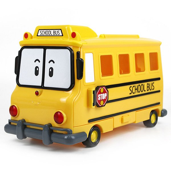 Silverlit Poli School Bus with Storage Case Deformation Police Car Boy Toys Portabe Cartoon Models LJJO7189