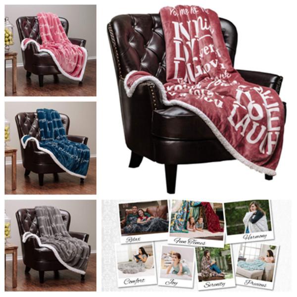 Stampa Tappeto quadrato calda flanella Coperte 3D Coperta peluche lettera stampata Sherpa Fleece Wearable Gettare Coperte Nursery BeddingT2I5217