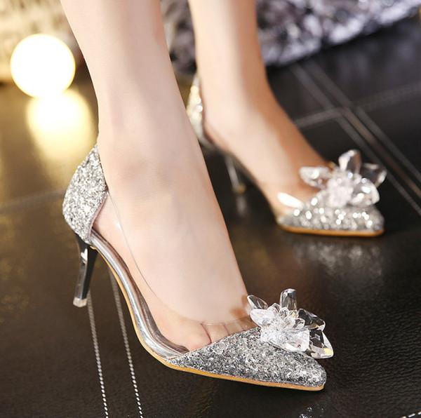 Золото Rhinestone Высокие каблуки 2019 Женщины Острым носком Каблуки Кристалл Серебро Обувь туфли на высоких каблуках Партии Свадебные туфли