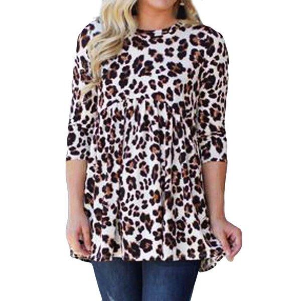 Высокое качество весна осень зима теплая мода женщины леопардовым принтом топ дамы свободные три четверти блузка тенденция
