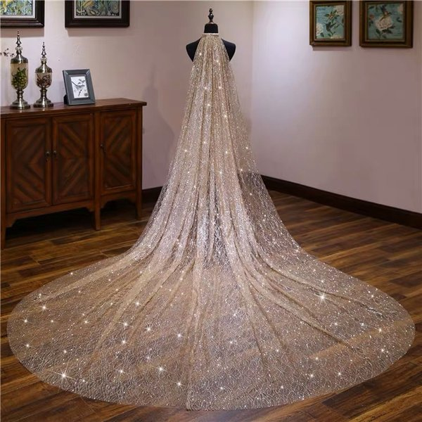 Gold White Blingbling Glitters Bridal Veils Luxury Wedding Veil Bride 3x3.5 Meters Long Cathedral Veil With Comb Peigne