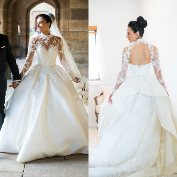 Sheer High Neck Wedding Dresses 2019 Princess Ball Gown Long Sleeve Backless Royal Design Bridal Gowns Custom Plus Size