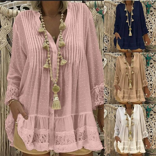 Women's Lace Chiffon V-neck Tunic Shirt Blouse Long Sleeve Solid Loose Womens Tops And Blouses 2019 Spring Summer Tops Plus Size Y19050501