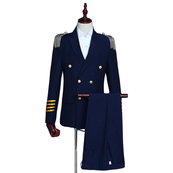 Navy blue double-breasted suits Men 2019 slim fit mens blazer with pant 2 pcs party tassels epaulettes uniforms dress Suits set