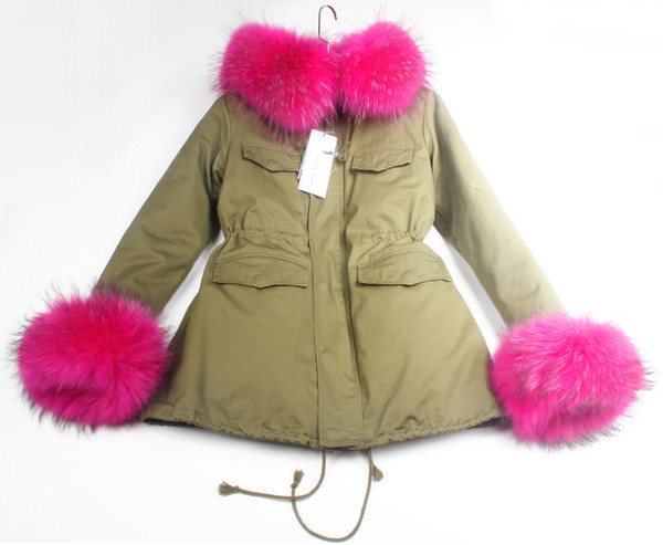 @sandra_studios Women's Armygreen Jacket cashmere velvet Liner padded cotton Long Parkas hooded and 2 cuff with Raccoon fur collar