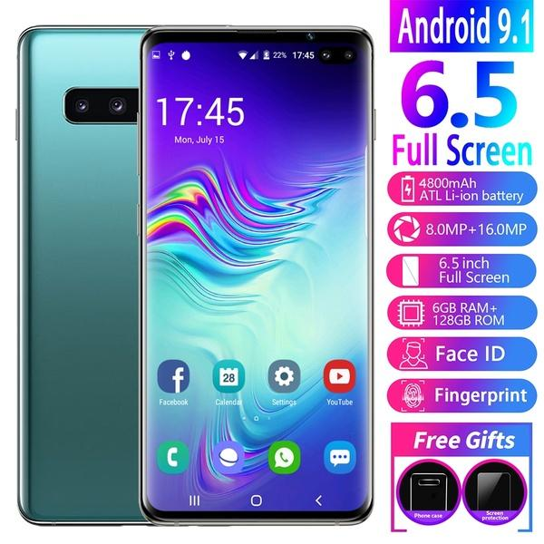 best selling New 6.5 Inch S10+Smartphone Face Fingerprint Unlock 6GB+128GB Android Octa Core Dual SIM Cards Support T Card Dual Rear free DHL shipping
