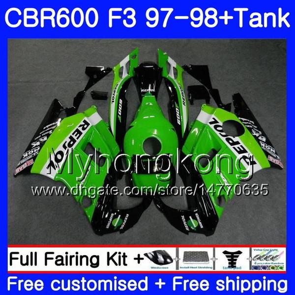 Cuerpo + Tanque para HONDA Repsol verde nuevo CBR 600 FS F3 CBR600RR CBR 600F3 97 98 290HM.21 CBR600 F3 97 98 CBR600FS CBR600F3 1997 1998 Carenados