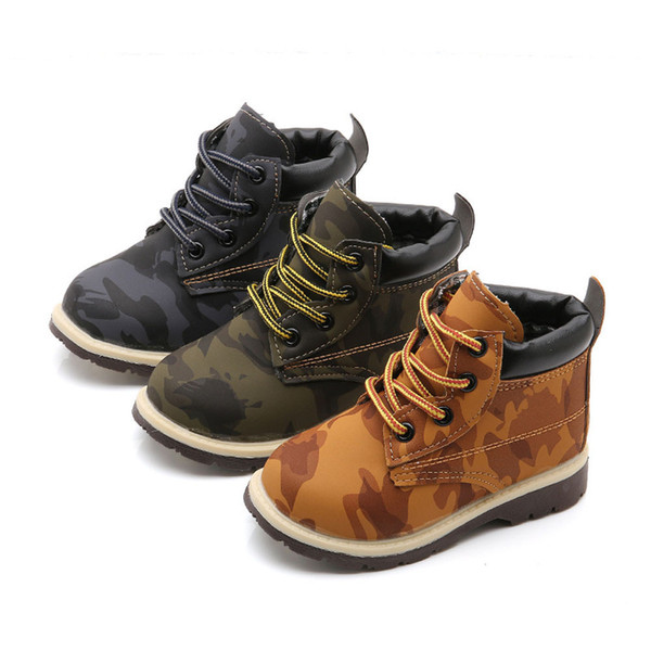 Child Baby Girls Shoes Thick Army Leather Student Boys Shoes Martin Boots Children Booties Toddler Anti-Slip Dropshipping 823