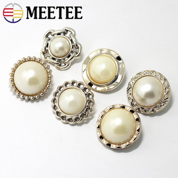 Meetee 15 18 22 25mm High-grade Pearl Button Plastic Metal Shank Buckle DIY Coat shirt Clothing Sewing Decor Accessories CN034