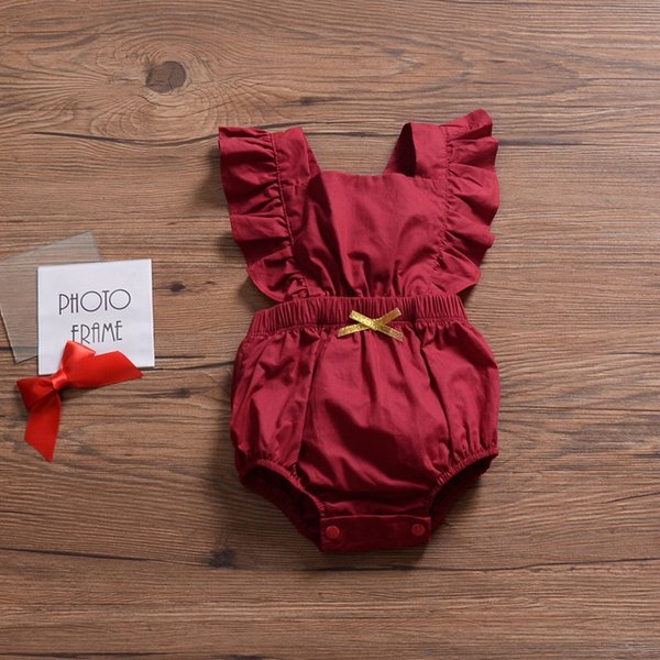 Flying Sleeve INS Red Baby Girls Sleeveless Rompers Must-have Infant Girls Bodysuits One-piece Sleeveless Toddler Bodysuits Girls Jumpsuit